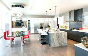 waterfall countertop cost luxury modern kitchen with waterfall counter island breakfast bar dining cost