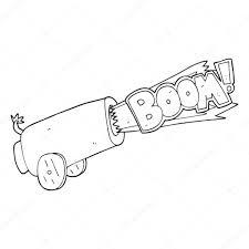 Zwart Wit Cartoon Kanon Schieten Stockvector Lineartestpilot