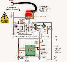 homemade mosquito killer circuit electronic circuit projects in the above high voltage generator circuit the ic 555 astable is used for feeding high frequency pulses to the primary of an ordinary 0 12v 220v