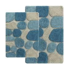 chesapeake merchandising pebbles aquamarine two piece bath rug set