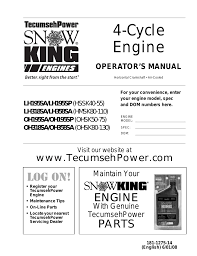Tecumseh OH195SA/OH195SP (OHSK50-75) User Manual | 32 pages | Also ...