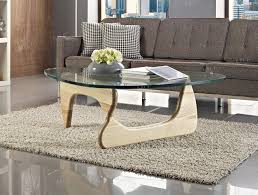 noguchi style coffee table with light oak finish
