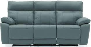 vida living positano blue leather 3 seater recliner sofa cfs uk