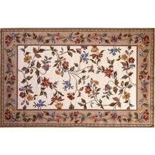30 x 50 petit point wool hearth rug ivory fl vine