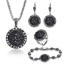 black crystal round stone pendant necklace sets 1 2