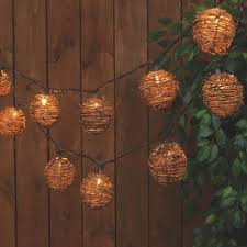 Everlasting Glow Garland Lights Everlasting Glow 8 5 Ft 10 Light Clear Rattan Sphere String