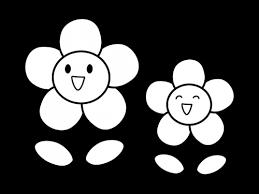 かわいい二輪の花の白黒イラスト かわいい無料の白黒イラスト モノぽっと