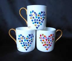hearts mug hand painted