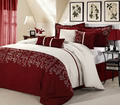 red bed sets decor amazing luxury set with leaves king comforter canvas regard to