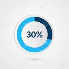 30 Percent Blue Grey And White Pie Chart Percentage Vector Infographics