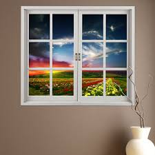 Artificial Window Flower Hill 3d Artificial Window View Pag Wall Decals Room