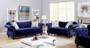 jolanda collection blue flannelette on tufted u0026 nailhead trim 2 pc sofa loveseat set wwvcp7rf