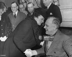 First Woman Cabinet Member Frances Perkins Greeting Us President Franklin D Roosevelt