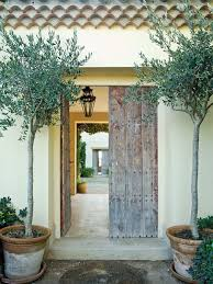 terranean entrance with a reclaimed wood door and olive trees in simple pots