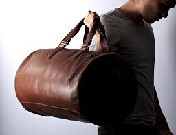 substantial leather duffle bag