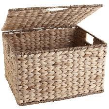 One Design Home Baskets Carson Natural Wicker Rectangular Lidded Storage Basket