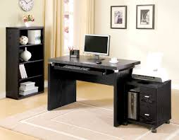 black computer desk for small home office design plus printer and cpu storage with wheels beside wooden bookshelf and furniture storage with white painted