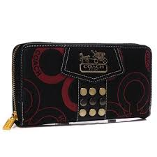 Coach Waverly Stud In Signature Large Black Wallets AGX