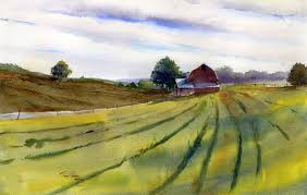 open fields watercolor landscape painting by tony conner
