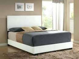 Details about Platform QUEEN Size Bed Upholstered WHITE Leather Headboard Bedroom Furniture
