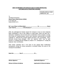 Form Of Share Certificate Fillable Online Draft Form Of Indemnity For Loss Of Share