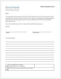 Customer Feedback Form Simple Parent Feedback Forms For School Teacher Evaluation Word Excel