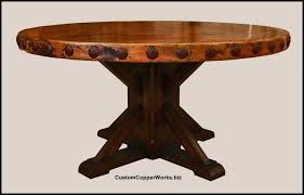 round copper top dining table inch diameter with side base for marble rustic wood 1