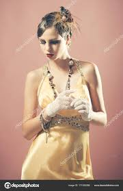 in fashionable yellow dress stock photo