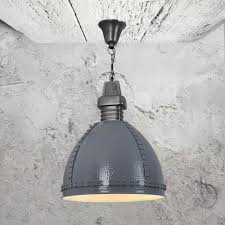 industrial grey hammered metal pendant light