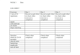 Weight Lifting Log Sheets Food And Exercise Journal Template Example Surgery Weekly Tracker
