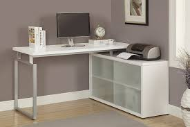 com monarch hollow core l shaped desk with frosted glass white kitchen dining