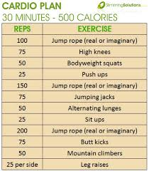 30 minute 500 calorie cardio exercise plan slimming solutions weight loss