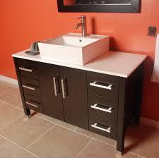 Single Vessel Sink Bathroom Vanity Bathroom Endearing Dark Brown Wooden Single Bathroom Vanity