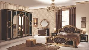 Schlafzimmer Set Barocco 7 Teilig In Schwarz Gold 180x200 Cm Mit