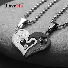 details about men s women s i love you chain black heart pendant necklace couple gift
