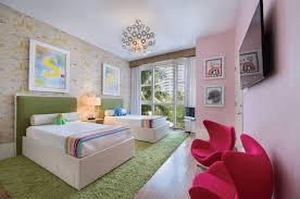 modern bedroom green. Bedroom Green Synthetic Carpet White Bed Headboards Pink Wall Round Stainless Chandelier Red Modern R