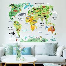 World Map Home Decor Colorful World Map Animals Wall Sticker Home Decor Kids Room