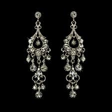 promise antique silver crystal chandelier earrings silver