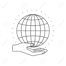 Chart Charity Silhouette Hand Palm Giving A Globe Chart Charity Symbol Vector