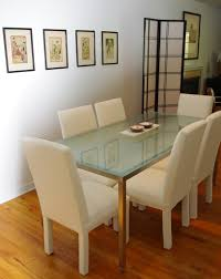 dining table with frosted glass top silver metal finish coaster