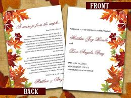 Microsoft Wedding Program Templates Half Fold Wedding Program Template Microsoft Word Autumn Leaves