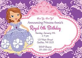 Princess Sofia Personalized Princess Party Birthday Invitations