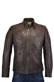 hugo boss black gento2 leather jacket brown