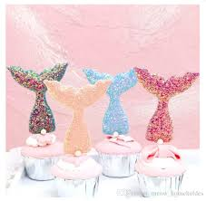 Under The Sea Birthday Chart 6 Pcs Set Glittering Mermaid Tail Cake Topper Under The Sea Ocean Theme Birthday Party Cupcake Decor Wedding Baby Shower Supplies