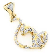 14k gold womens round diamond cat pendant 0 75ct ye
