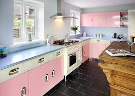 Light Pink Kitchen Pastel Pink Island Light Wood Flooring White Cabinets And Ceramic
