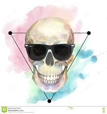 концепция татуировки акварели с черепом в изолированном элементе