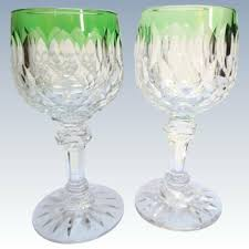 rare baccarat juvisy colored antique cut crystal wine glasses stems