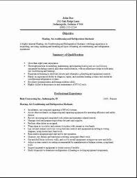 Sample Resume For Hvac Technician