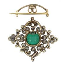 browns family jewellers antique diamond and emerald brooch